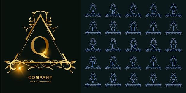 Litera q lub kolekcja początkowy alfabet z luksusowym ornamentem kwiatowy rama złoty szablon logo.
