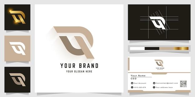 Litera q lub logo z monogramem w górę z projektem wizytówki