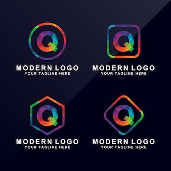 Litera q nowoczesne kolorowe logo