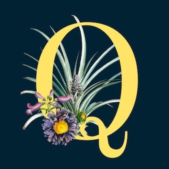 Litera q z kwiatami