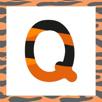 Litera q z świąteczną czcionką i ramką z motywem tygrysa z pomarańczowym symbolem alfabetu w czarne paski...