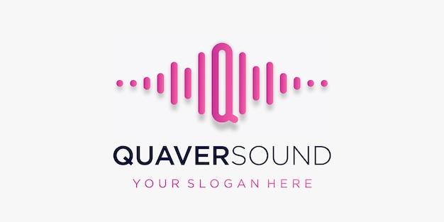 Litera q z szablonem logo elementu fali dźwiękowej pulsu muzyka elektroniczna korektor sklep muzyka dj