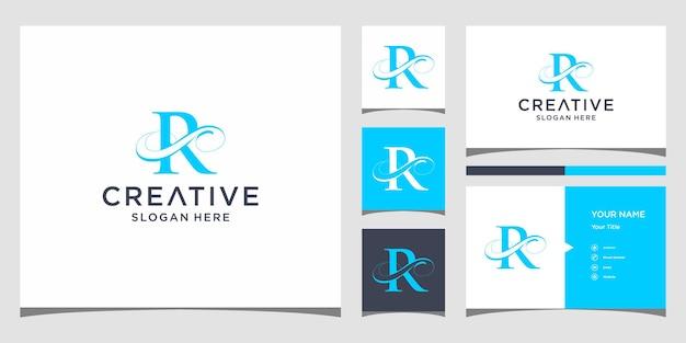 Litera r elegancki projekt logo z projektem wizytówki