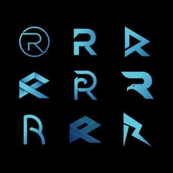 Litera r inicjały nowoczesny design logo