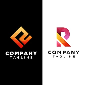 Litera r logo szablon wektor premium