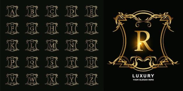 Litera r lub początkowy alfabet kolekcji z luksusowym ornamentem kwiatowy rama złoty szablon logo.