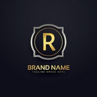 Litera r luksusowe logo