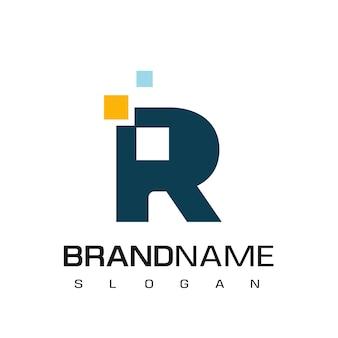Litera r pixel logo design vector