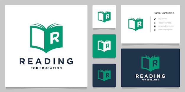 Litera r przeczytaj na ilustracji projektu logo książki