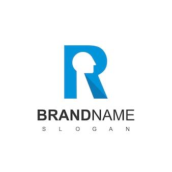 Litera r robotic logo design inspiracja