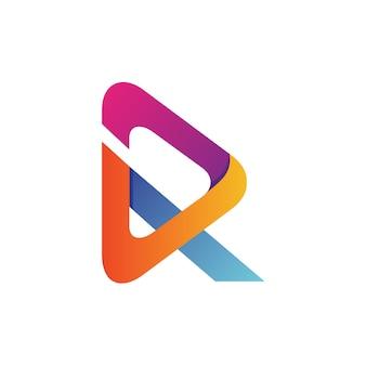 Litera r strzałka logo wektor