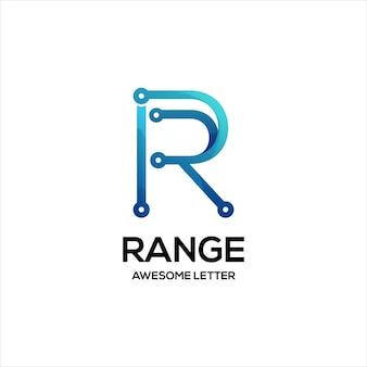 Litera r technologia logo kolorowe gradientowe streszczenie
