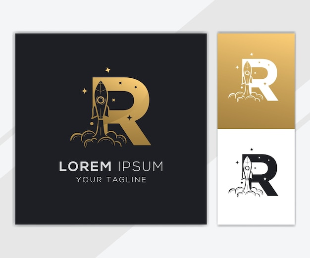 Litera r z luksusowym szablonem logo streszczenie rakiety