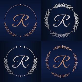 Litera r z szablonu logo kwiatowy ramki