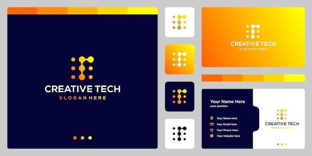 Litera r ze stylem tech i kolorem gradientu. wizytówka.