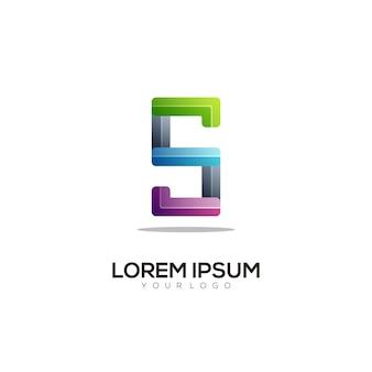 Litera s logo kolorowa ilustracja gradientowa