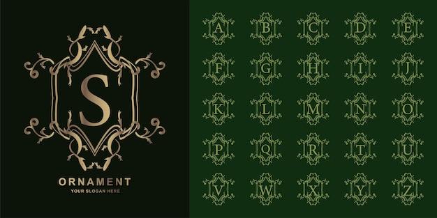 Litera s lub początkowy alfabet kolekcji z luksusowym ornamentem kwiatowy szablon logo