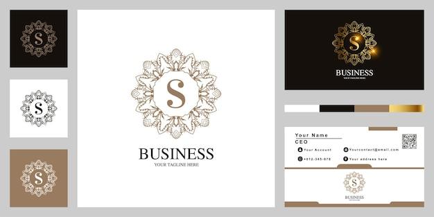Litera s ornament kwiat rama logo szablon projektu z wizytówki.