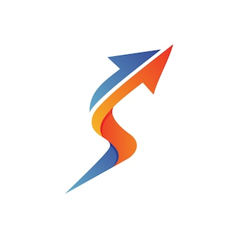 Litera s strzałka logo wektor