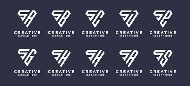 Litera s w kształcie rombu w połączeniu z innymi projektami logo monogramów.