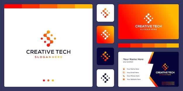 Litera s w stylu tech i kolor gradientu. wizytówka.