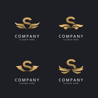 Litera s z luksusowym szablonem logo streszczenie skrzydła