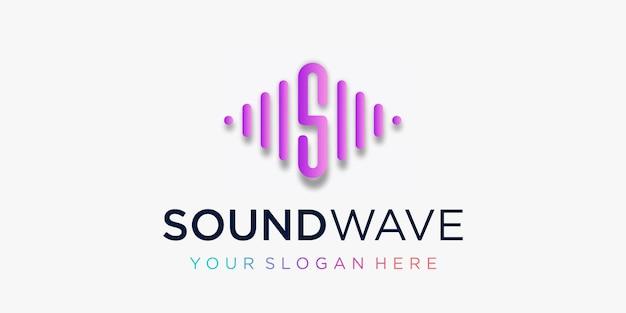 Litera s z szablonem logo elementu fali tętna elektroniczny korektor muzyki sklep dj music