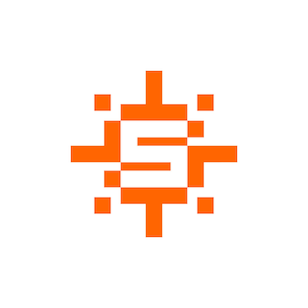 Litera s z wektorem słońca w stylu pikseli, która jest odpowiednia dla każdej firmy związanej z technologią lub grami wideo