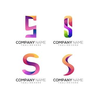 Litera s zestaw logo kolorowy gradient