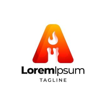 Litera świeca logo kolorowy szablon gradientu