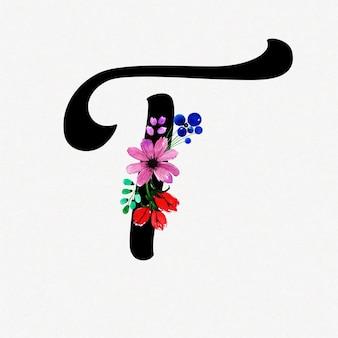 Litera t akwarela kwiatowy tło