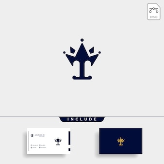 Litera t król logo szablon wektor projekt korona ikona