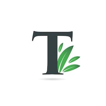 Litera t liść logo