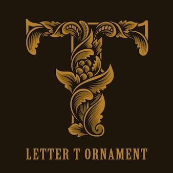 Litera t logo w stylu vintage ornament