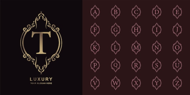 Litera t lub początkowy alfabet kolekcji z luksusowym ornamentem kwiatowy rama złoty szablon logo.