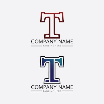 Litera t, projekt alfabetu czcionki wektor logo t i ikona t