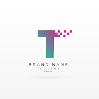 Litera t projekt koncepcji logo z cząstkami