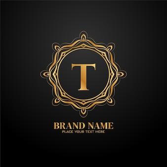 Litera t wektor koncepcji logo luksusowej marki