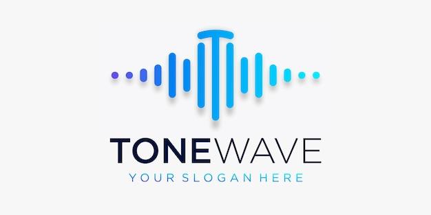 Litera t z pulsem. element fali tonowej. logo szablon muzyka elektroniczna, korektor