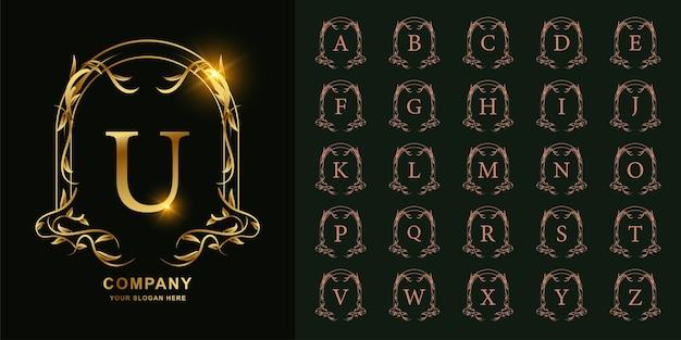 Litera u lub kolekcja początkowy alfabet z luksusowym ornamentem kwiatowy rama złoty szablon logo.