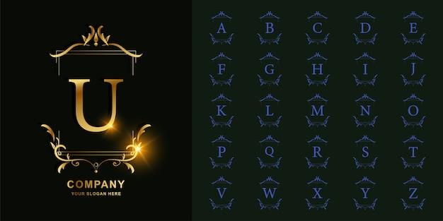Litera u lub początkowy alfabet kolekcji z luksusowym ornamentem kwiatowy rama złoty szablon logo.