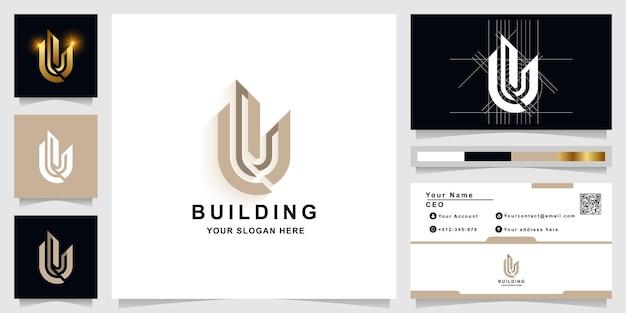 Litera u lub szablon logo monogram budynku z projektem wizytówki