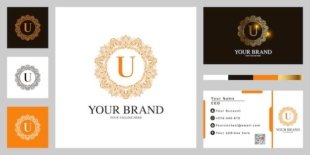 Litera u luksusowy ornament kwiat rama logo szablon projektu z wizytówką.