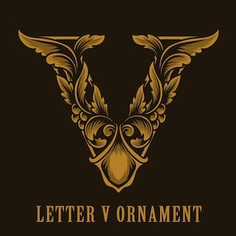 Litera v logo w stylu vintage ornament