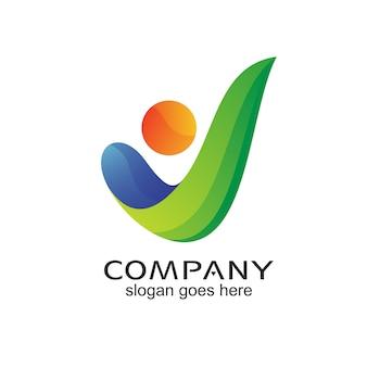 Litera v ludzie streszczenie logo wektor