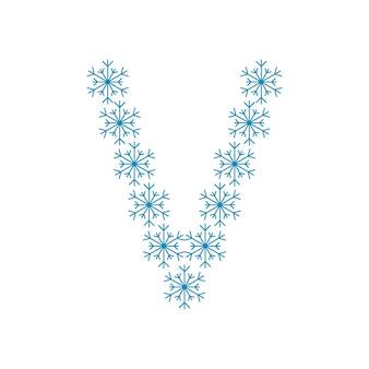 Litera v od płatków śniegu. świąteczna czcionka lub dekoracja na nowy rok i boże narodzenie