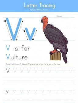 Litera v tracing animal alphabet v for vulture