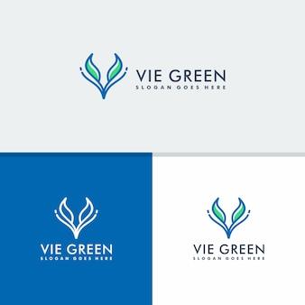 Litera v z koncepcją logo liścia, logotyp projektu przyrody