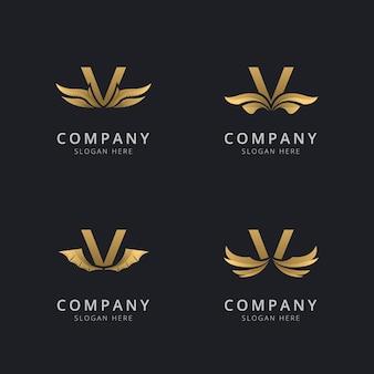 Litera v z luksusowym szablonem logo streszczenie skrzydła