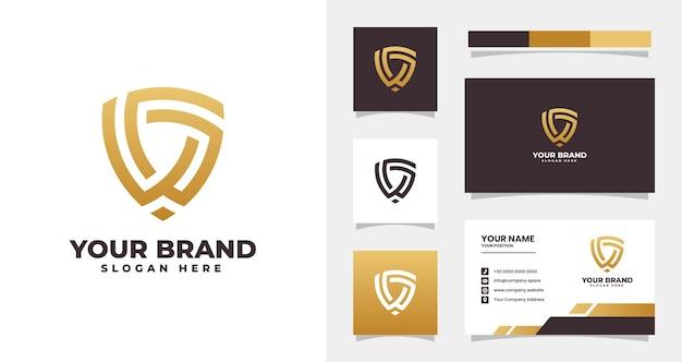Litera w i g nowoczesne logo tarczy i szablon wizytówki